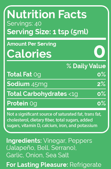 Hot Green Nutrition Label