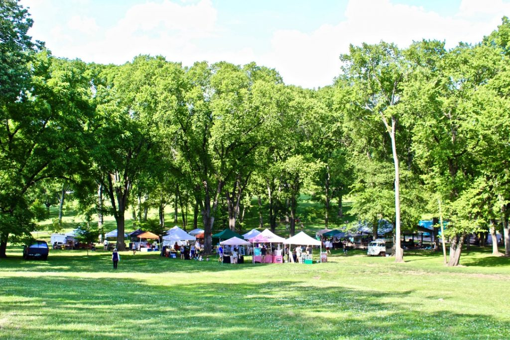 12 south Farmers market under trees in Sevier Park