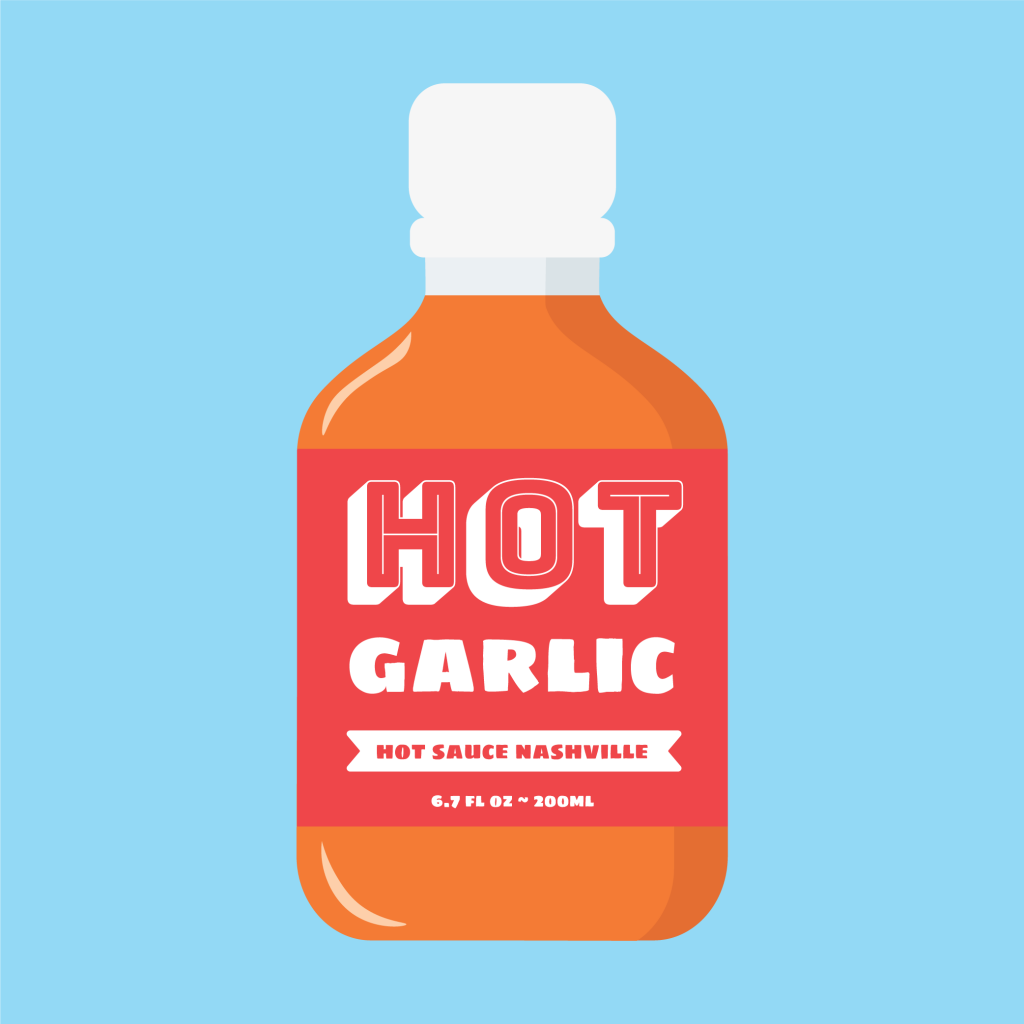 Hot Garlic Hot Sauce Cartoon